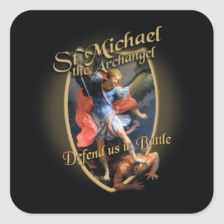 ST MICHAEL THE ARCHANGEL DEFEND US IN BATTLE SQUARE STICKER