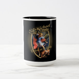 ST MICHAEL THE ARCHANGEL DEFEND US IN BATTLE Two-Tone COFFEE MUG