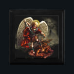 """St. Michael the Archangel Jewelry Box<br><div class=""""desc"""">This product features a striking original image of St. Michael the Archangel defeating satan.  St. Michael the Archangel,  pray for us!  Original Art by Daniel Rosales.</div>"""