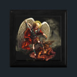 "St. Michael the Archangel Jewelry Box<br><div class=""desc"">This product features a striking original image of St. Michael the Archangel defeating satan.  St. Michael the Archangel,  pray for us!  Original Art by Daniel Rosales.</div>"