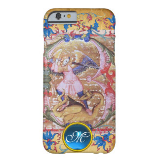St. Michael the Archangel Monogram Antique Floral Barely There iPhone 6 Case