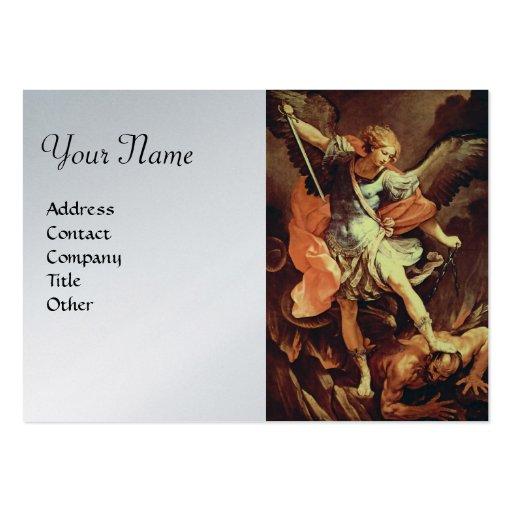 St. Michael the Archangel,platinum metallic paper Business Cards
