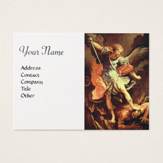 St. Michael the Archangel,platinum metallic paper Business Card