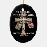 St Michael The Archangel - Protect Our Soldiers Double-Sided Oval Ceramic Christmas Ornament