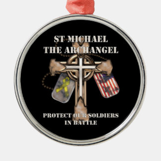 St Michael The Archangel - Protect Our Soldiers Round Metal Christmas Ornament