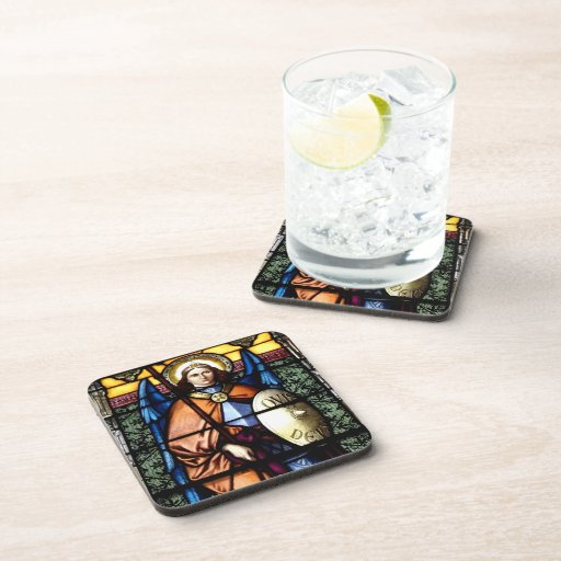 St. Michael The Archangel Stained Glass Window Coaster