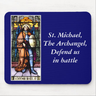 St. Michael The Archangel Stained Glass Window Mouse Pad