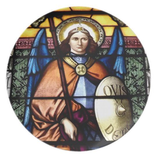 St. Michael The Archangel Stained Glass Window Plate