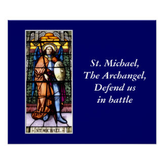 St. Michael The Archangel Stained Glass Window Poster