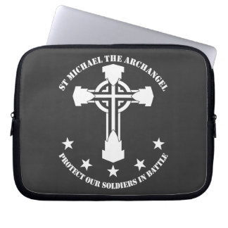 St Michael The Archangel - White Stencil Laptop Computer Sleeve