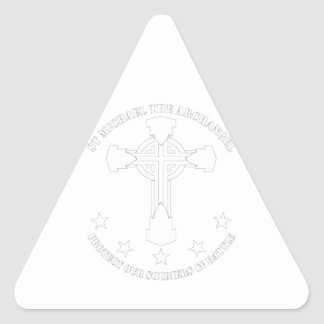 St Michael The Archangel - White Stencil Triangle Sticker