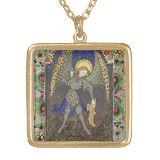 St. Michael the Archangel with Devil Gold Plated Necklace