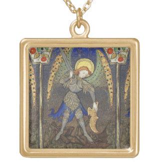 St. Michael the Archangel with Devil Square Pendant Necklace