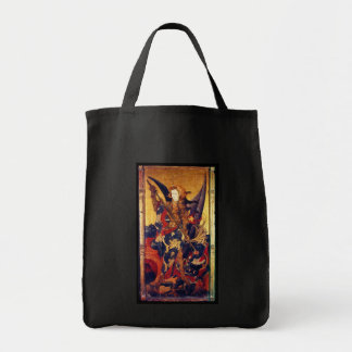 St Michael Vanguishing Devil as Medieval Knight Tote Bag
