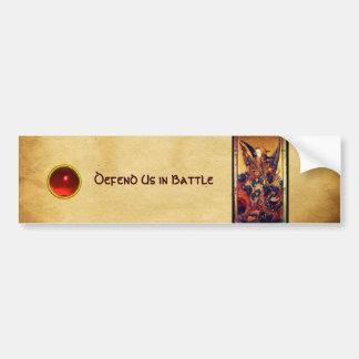 St. Michael Vanquishing Devil as Medieval Knight Bumper Sticker