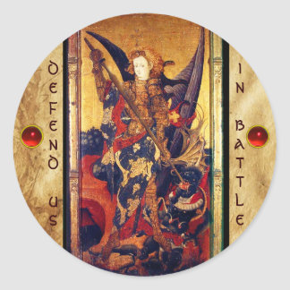 St. Michael Vanquishing Devil as Medieval Knight Classic Round Sticker