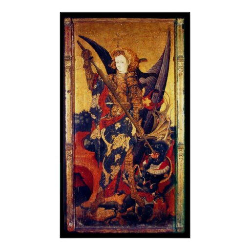 St Michael Vanquishing Devil as Medieval Knight Poster