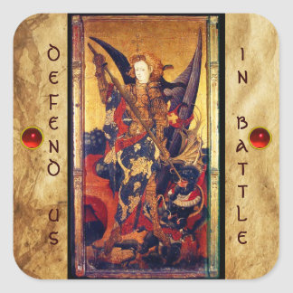 St. Michael Vanquishing Devil as Medieval Knight Square Sticker