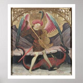 St Michael Vanquishing Evil, c.1480 (tempera on pa Poster