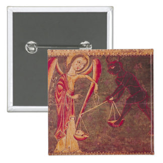 St. Michael Weighing Souls, from an altarpiece Pinback Button