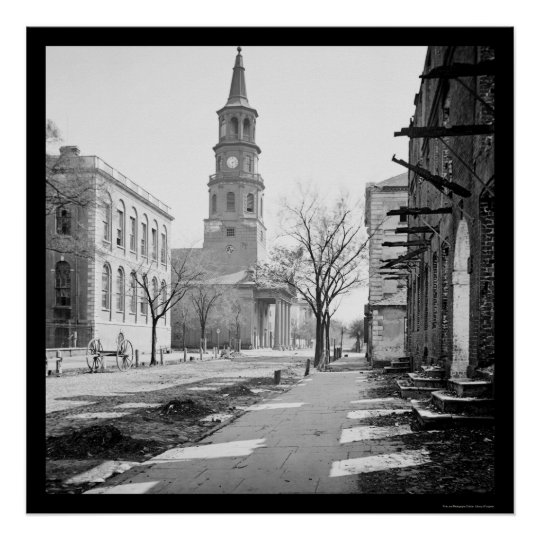 St Michael S Church In Charleston Sc 1865 Poster