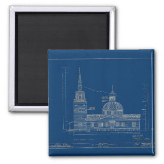 St. Michael's - South Elevation 2 Inch Square Magnet