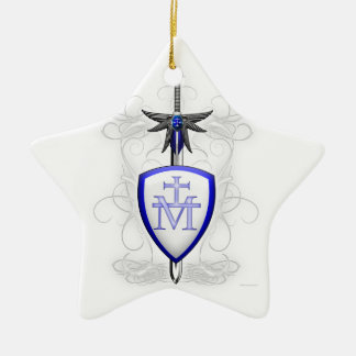 St. Michael's Sword Double-Sided Star Ceramic Christmas Ornament