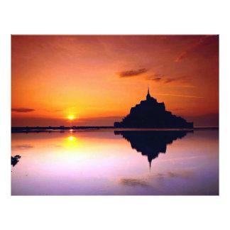 St. Miguel en la puesta del sol, Normandía, Franci Tarjetas Publicitarias