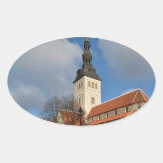 St. Nicholas' Church, Tallinn, Estonia Oval Sticker