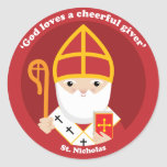 """St. Nicholas Classic Round Sticker<br><div class=""""desc"""">A cute and happy St. Nicholas icon to bring love,  joy and hope to your loved ones and yourself.</div>"""