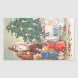 St. Nicholas in Brown Suit with Children Vintage Rectangular Sticker
