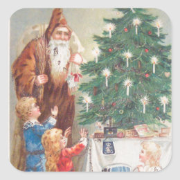 St. Nicholas in Brown Suit with Children Vintage Square Sticker