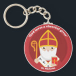 """St. Nicholas Keychain<br><div class=""""desc"""">A cute and happy St. Nicholas icon to bring love,  joy and hope to your loved ones and yourself.</div>"""