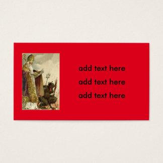 St Nicholas Krampus Pitchfork Priest Business Card