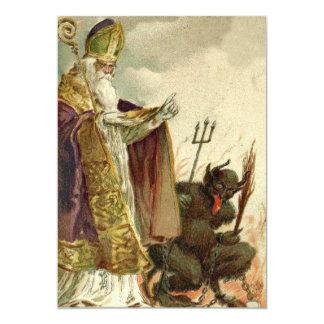 St Nicholas Krampus Pitchfork Priest Card