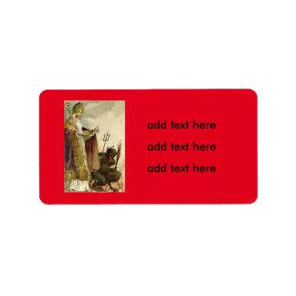 St Nicholas Krampus Pitchfork Priest Label