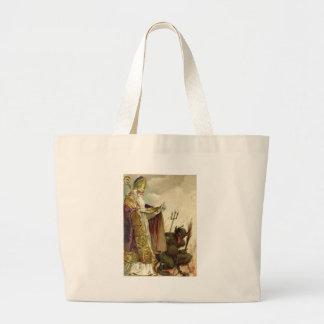 St Nicholas Krampus Pitchfork Priest Large Tote Bag