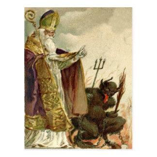 St Nicholas Krampus Pitchfork Priest Postcard