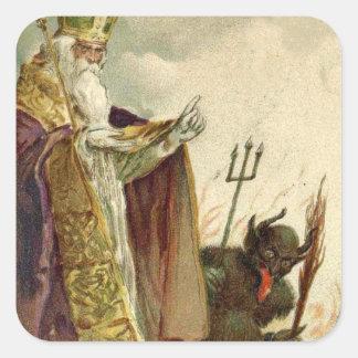 St Nicholas Krampus Pitchfork Priest Square Sticker