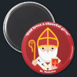 """St. Nicholas Magnet<br><div class=""""desc"""">A cute and happy St. Nicholas icon to bring love,  joy and hope to your loved ones and yourself.</div>"""