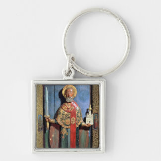 St. Nicholas of Mozhaisk, Yaroslavl School Silver-Colored Square Keychain