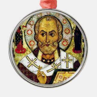 St. Nicholas - Patron Saint of Children Round Metal Christmas Ornament