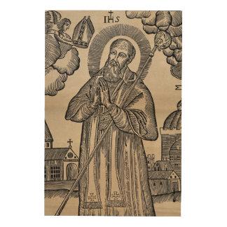 St. Nicholas receiving the Mitre Vintage Woodcut Wood Wall Decor