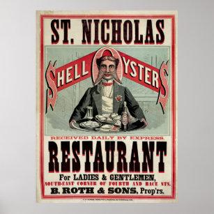 St Nicholas Restaurant Cincinnati Vintage Ad Poster
