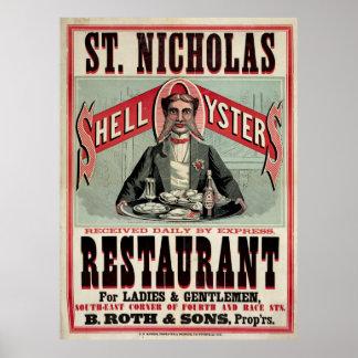 St. Nicholas Restaurant,  Cincinnati, Vintage Ad Poster