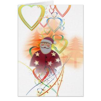 St. Nicholas Santa Clause Heart Tree Art Deco Card