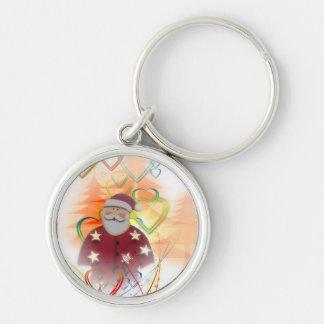 St. Nicholas Santa Clause Heart Tree Art Deco Keychain