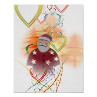 St. Nicholas Santa Clause Heart Tree Art Deco Poster