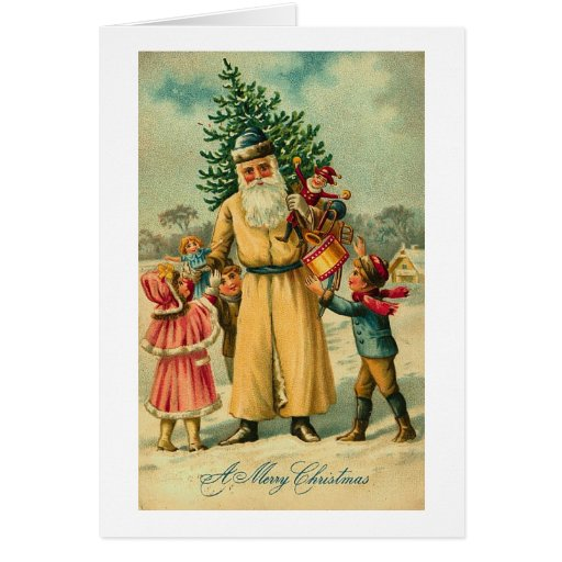 St. Nick and Kids At Christmas Greeting Cards