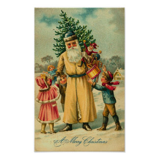 St. Nick and Kids At Christmas Print